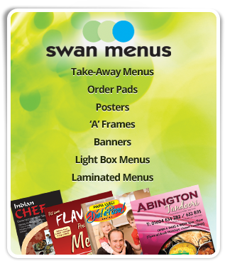 Swan menus, take-away menus, stationery